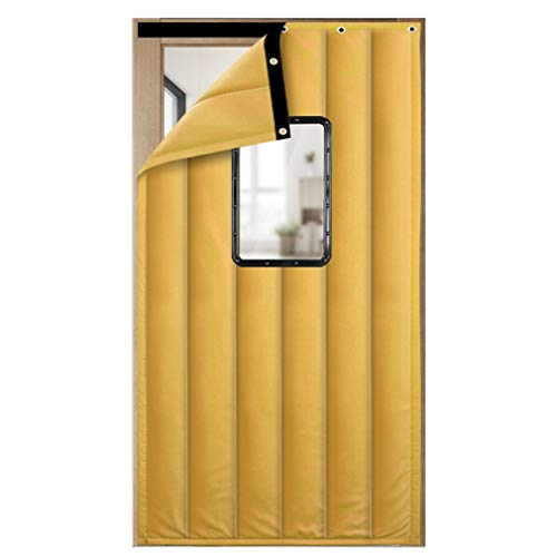 JIANFEI Door Curtain Keep Warm Windproof Winter,2 Colours 18 Size Customizable (Color : A-Yellow, Size : 80x180cm)