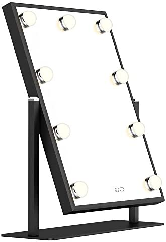 Nitin Hollywood Lighted Vanity Mirror, Tabletops Makeup Mirror with Lights, Aluminum Frame Touch Control Cosmetic Mirrors (Black)