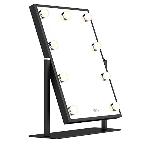 Nitin Lighted Vanity Mirror with Dimmable Touch Control, Hollywood Style Makeup Cosmetic Mirrors with Lights, Aluminum Frame Jewelry Packaging Material Velvet Back Plate (Black)