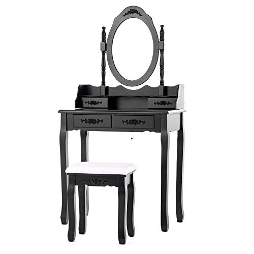 Mecor Vanity Table Set with Oval Mirror/ 4 Drawers,Wood Makeup Dressing Table w/Cushioned Stool Black