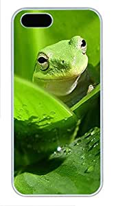 iPhone 5 5S Case Green frog PC Custom iPhone 5 5S Case Cover White