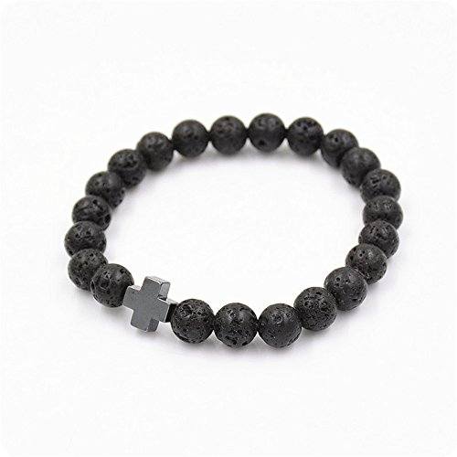 Botrong Beads Lava Gallstone Cross Bracelet Party Gift Yoga Jewelry for Men and Women (Lava Cupcakes)