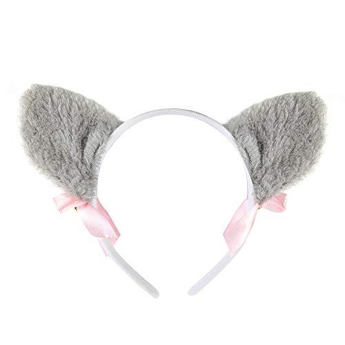 Cat Ears Fox Ears Costume Cosplay Anime Neko Long Fur Headband Bells Accessories (Color - #1 Gray Fur Bells) ()