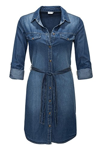 Jacqueline de Yong Damen Jeanskleid Hemdblusenkleid Langarmkleid (S, Medium Blue Denim)