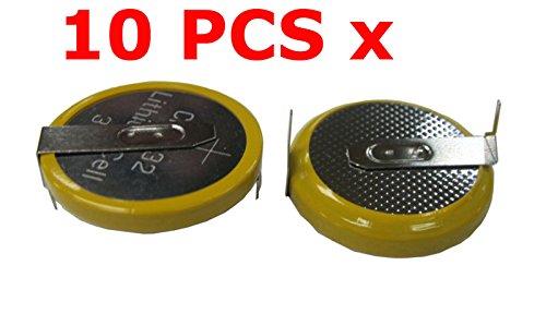 FidgetFidget 10 PCS x 3V CR2032 Button Cell Battery with 2 Solder Pins/tabs New (2 Pins Solder)