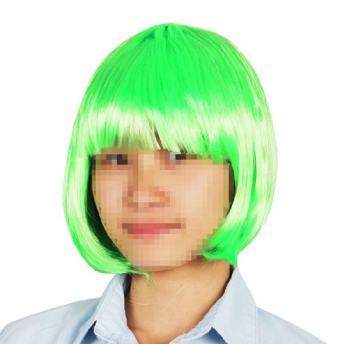 uxcell® Flat Fringe Straight Hair Party Costume Wiggery Green