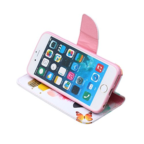 """iPhone 6 4.7"""" Coque , Apple iPhone 6 (4.7"""") Coque Lifetrut® [ papillon ] [Béquille Feature] [Slim Fit] Prime PU Housse en cuir Flip Cover stand avec carte Slots étui en cuir Coque Etui pour Apple iPho"""