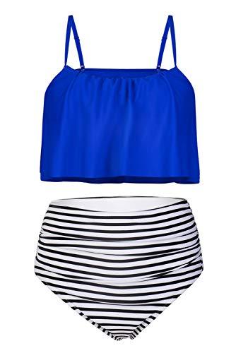Byoauo Womens High Waist Bikini Swimsuits Two Piece Thin Shoulder Straps Plus Size Swimwear (XXL, Royal -