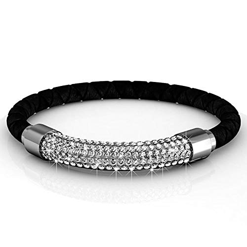 (Silver & Post 18K White Gold Plated Braided Genuine Black Leather Bracelet Premium Austrian Crystals. Magnetic Clasp Closure. Fancy Burlap Gift Box Included.)