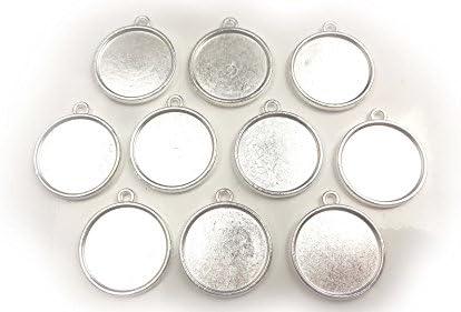 【HARU雑貨】シルバー ミール皿 10枚セット/丸皿 両面 円 銀 s30/レジン アクセサリーパーツ