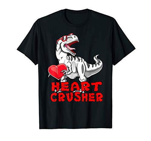 Dinosaur Shirt Valentines Day Heart Crusher T Rex Boys Kids