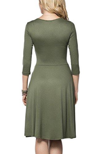 Elegante profundo escote en v Swing acanalada vestido de fiesta de las mujeres Grey