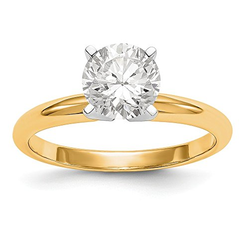 14k Two-Tone 2ct. Lightweight 4-Prong Solitaire Ring Mounting Size 7 Length Width 2