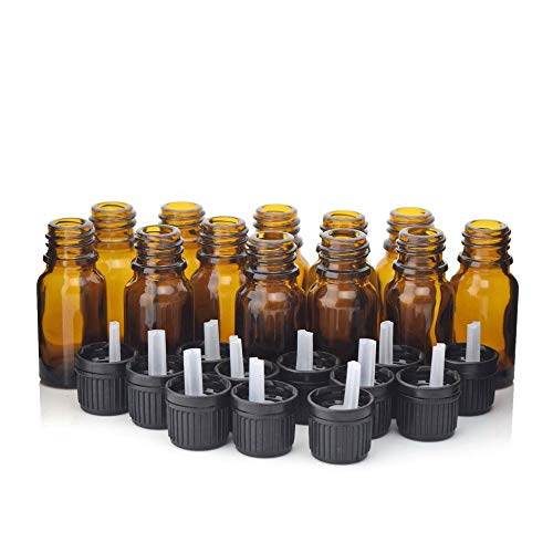 Lessonmart 12pcs 1/3 Oz 10ml Amber Glass Bottles w/Euro Dropper Orifice Reducer Black Tamper evident Cap for Essential Oil Aromatherapy