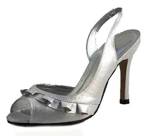 honor de alto de fiesta zapatos de tacón frente de volantes dama satén Señoras con Silver wUT0qx88