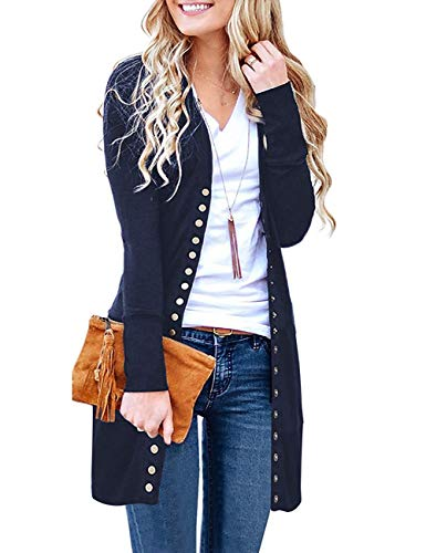 Basic Faith Women's S-3XL V-Neck Button Down Knitwear Long Sleeve Soft Knit Casual Cardigan Sweater Style 2-Navy02 3XL -