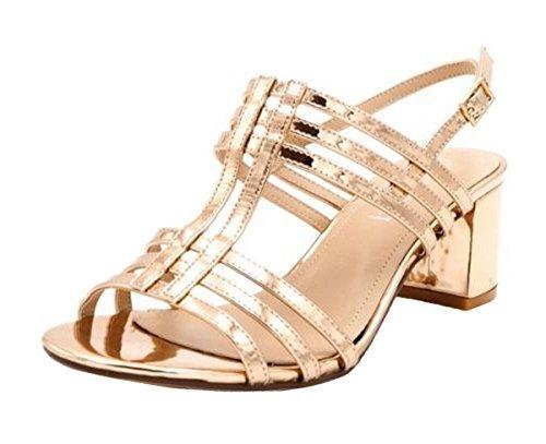 SHU CRAZY Womens Ladies Metallic Sling-Back Mid Block Heel Fashion Summer Sandals Shoes - N42 Rose Gold axSuO6mTD