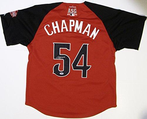 AROLDIS CHAPMAN AUTOGRAPHED Hand SIGNED 2015 ALL-STAR Authentic Jersey Cincinnati REDS PSA/DNA COA