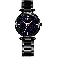 Relojes de acero inoxidable para mujer, relojes de moda Starry Sky, relojes clásicos de ocio impermeables para mujer (negro)