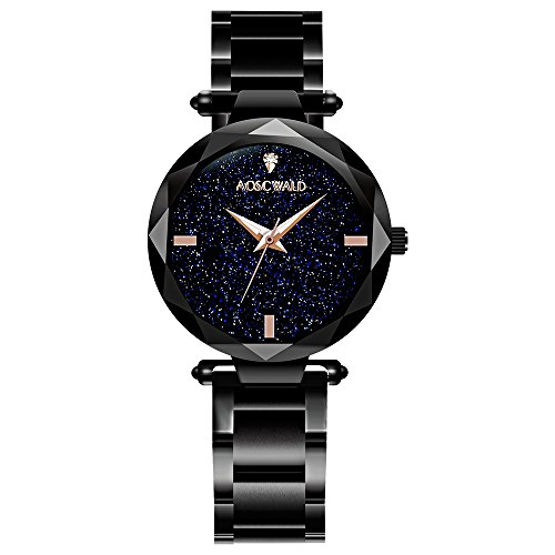 (AOSCWALD Waterproof Wrist Watch for Women Fashion Leisure Starry Sky Flickering Quartz Watch Black Stainless Steel Strip Rhinestone Lady Watches)