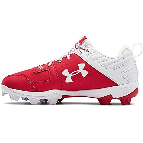 Under Armour Boys' Leadoff Low RM Jr. Baseball Shoe, Red (600)/White, 1 Little Kid