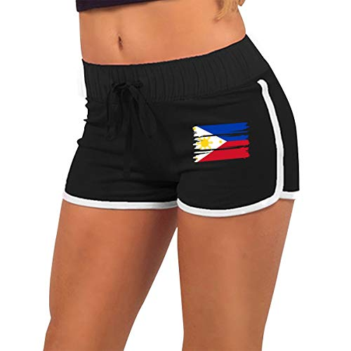(UAMSHORT Women's Sexy Booty Shorts Philippines Flag Low-Waist Bike Fitness Running Tight Pants)
