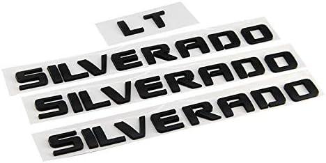 Matte Black Silverado LT Emblem 3D Letters Door//Tailgate Badge for 07-19 Chevrolet Silverado 4Pcs