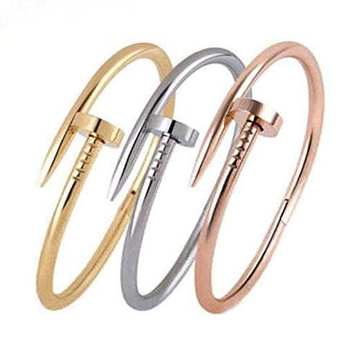 (7.5inch Stainless Steel Nail Style Love Yellow Gold Plated Bangle Bracelet(a1036))