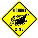 FLOUNDER CROSSING fish seafood ocean sign