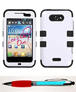 Accessory Factory(TM) Bundle (Phone Case, 2in1 Stylus Point Pen) LG LW770 (Optimus Regard) Ivory White Black TUFF Hybrid Phone Protector Cover
