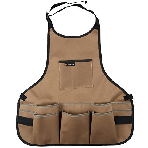 Work Apron 600D Oxford Shop Apron with Multiple Pockets to Organize Your Tools Protective Tool Apron (Khaki) by RTWAY
