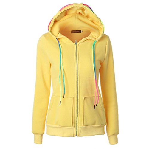 Price comparison product image AIMTOPPY Fashion Women Long Sleeve Hoodie Sweatshirt Hooded Coat Zipper Jacket (XXL, Yellow)