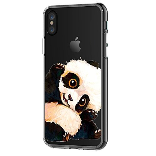 iPhone X Case,Cute Charming Panda Pattern On Soft TPU Silicone Protective Skin Ultra Slim & Clear with Animal Design Gift Bumper Cover for iPhone X Edition,Panda hi