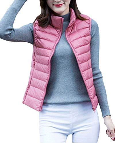 Otoño Acolchado Mujer Fashion Grandes Elegantes Vest Sleeveless Pink Camisolas Termica Abrigos Ligeros Pluma Tallas Ropa Casual Outerwear Chaleco Cazadoras qEHdxwH