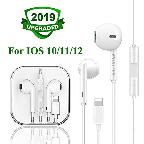 MUXITEK Earphones Headphone with Microphone and Volume Control, Compatible with iPhone 11/11Pro/Max/XS/Max/XR/X/8/Plus/7 and iOS 10/11/12 (White)