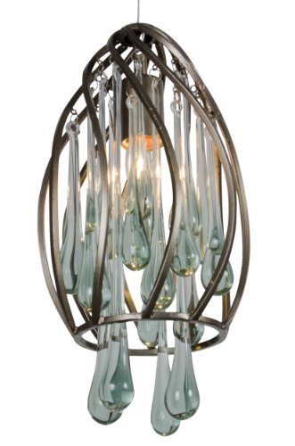 Varaluz 151M01NB Area 51 1-Light Mini Pendant - New Bronze Finish with Recycled Glass
