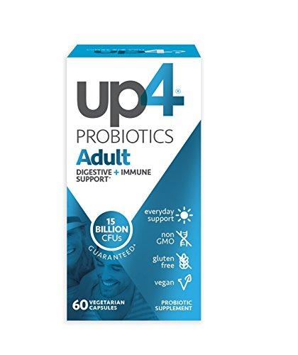 up4 Adult Probiotic Supplement | Digestive + Immune Support | 15 Billion CFU Guaranteed | Everyday Support | Non-GMO, Gluten Free, Vegan | 60 Vegetarian Capsules
