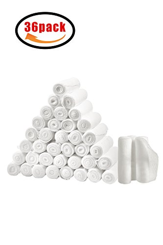 36-Pack Gauze Bandage Roll for Wound Care, Large3''x5 Yards Stretched Sterile Medical Gauze Roll for Stretch Wrist Wraps, First Aid Supplies, Conforming Stretch Gauze Bandage Rolls by ACVCY