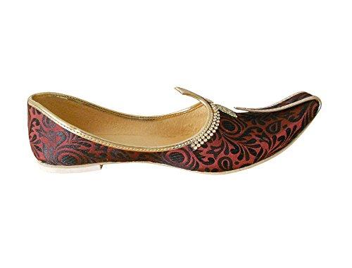 kalra Creations Hombre tradicional étnico de seda zapatos marrón