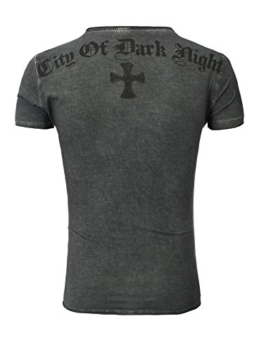 Key Largo T-Shirt T Independent V-Neck Kreuz Nieten Print anthrazit XXL