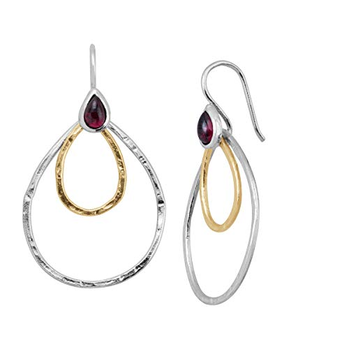 Silpada 'Sound Waves' 3/4 ct Natural Garnet Drop Earrings in Sterling Silver & 14K Gold Plate