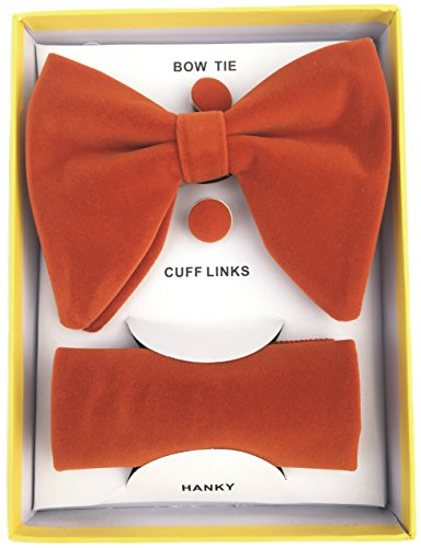 Unique Red Combo - Mens Pre-Tied Oversized Bow Tie Tuxedo Velvet Bowtie Cufflinks Hankie Combo Sets (Orange red)