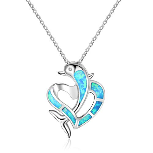 Dolphins Opal Necklace - GUAngqi Ocean Dolphin Faux Opal Necklace Simple Heart Pendant Necklace Jewelry Gifts for Women,Blue