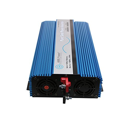 AIMS Power PWRI200012120S 2000W Pure Sine Wave Inverter, 2000 Watt Continuous Power, 4000 Watt Surge Peak Power, 12 Volt DC Input, Pure Sine Wave, GFCI Outlet, AC Direct Connect Terminal Block