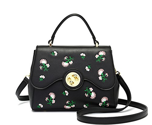Bolsa con cierre bordado fresco XinMaoYuan Wild Bolsos Bolso de Hombro Pu sección transversal cuadrada pequeña bolsa,negro Negro