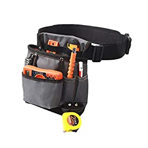Heavy Duty Canvas Tool Pocket Pouch Belt, Waist Work Pouch, Small Tool Bag with Adjustable Waist Strap for HVAC…
