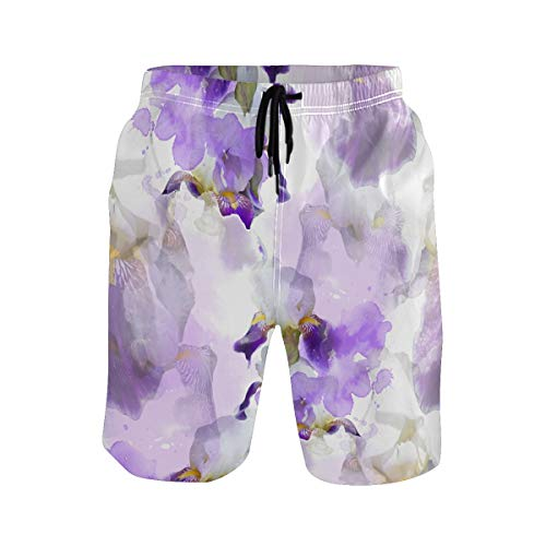 HZVBENGFTZ Men Swim Trunks Flowering Irises Abstract WatercolorPrinted Quick Dry Suits with Pockets Mesh -