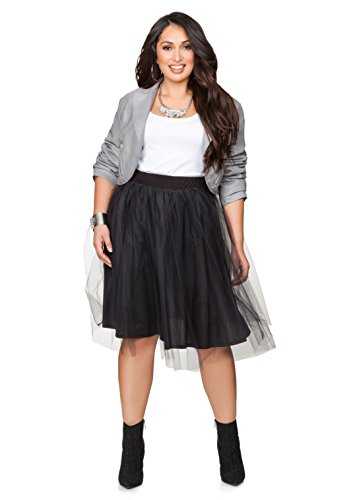 Ashley Stewart Women's Plus Size Tulle Skirt - Size: 18/20, Color: Black