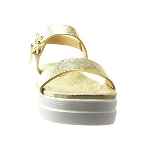 Angkorly - Zapatillas de Moda Sandalias Mules zapatillas de plataforma mujer tanga brillantes Talón Plataforma 5 CM - Oro