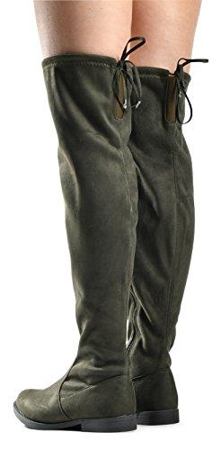 Lusthave Womens Isabel Sur Le Genou Tirer Sur Les Bottes Déquitation Zip - Faible Confort Empilé Talon - Simili Daim Genou Haute Botte Plate Olive